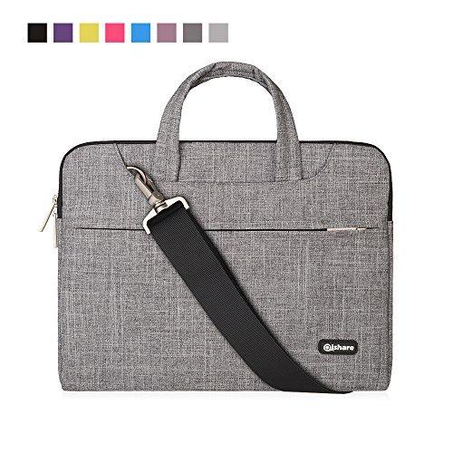 Qishare 11,6-12-Zoll-Laptoptasche, multifunktionale Polyester-Laptoptasche, Verstellbarer Schultergurt und unterdrückter Griff, tragbarer Dokumentenordner (11,6-12-Zoll Graue Linien)