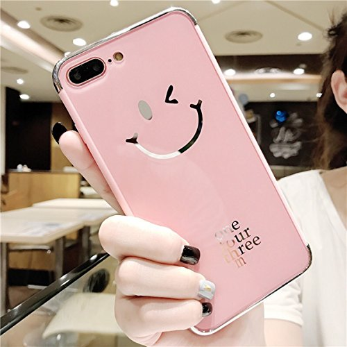 Coque iPhone 6, Coque iPhone 6S Miroir Silicone, SainCat Ultra Slim Bling Bling Silicone Case pour iPhone 6/6S, Coque Acrylique Rigide et Gel Smiley Face Transparente Miroir Silicone Soft Gel TPU Cover Anti-Scratch Dure avec Motif Case, Coque Souple Ultra Mince Housse Silicone Ultra Thin Shockproof Shell Ultra Slim Bumper Femme Case Skin Étui Case Coque Anti Choc Housse Bumper Cover pour iPhone 6/6S 4.7-Rose