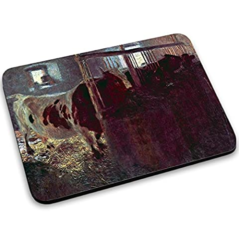 Klimt - Cows In Stall, Designer Tapis de Souris Mouse Pad Mouse Mat Pieds Anti-dérapant Forte pour un Maintien Optimal Compatibles avec Design Coloré pour Apple Magic Mouse.