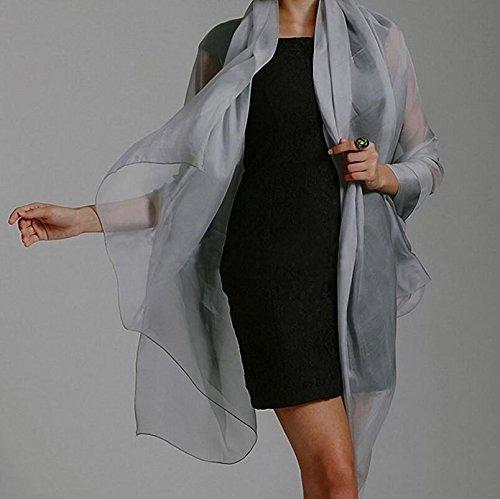 Kingken fascino silky scialle da sposa matrimonio, scialle stola sciarpa (grigio argento)