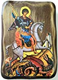 IconsGr Orthodox Christian icon Greek Saint George riding his Horse and Killing Beast, Wooden, Handmade / MP7