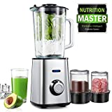 Blenders, AICOOK Smoothie Maker, Smoothie Blender with 1.5L Glass Jar, Grinding Cup