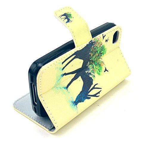 MOONCASE iPhone 4 Case Motif Conception Coque en Cuir Portefeuille Housse de Protection Étui à rabat Case pour iPhone 4 4S P64
