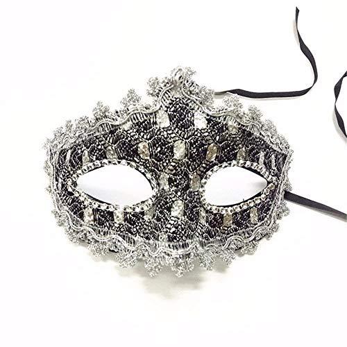 HAIBUHA Masken Gesichtsschutz Domino Falsche Front Venedig Make-up Tanz Show Party Halb Gesicht Weibliche Maske Silber