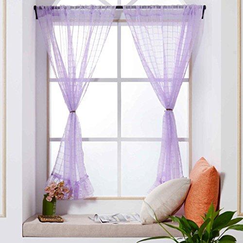 zycshang Hohe Qualität Einfache Spitze Gitter Farbe Gardinen Behandlung Platten Tür Tuch Modern violett (Star-dusche Vorhang-set)
