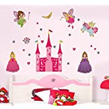 Decals Design 'Disney Princess and Castle' Wall Sticker (PVC Vinyl, 90 cm x 60 cm),Multicolour