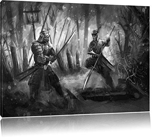 Kampf zwischen Samurai und Ninja Kunst B&W, Format: 100x70 auf Leinwand, XXL riesige Bilder fertig gerahmt mit Keilrahmen, Kunstdruck auf Wandbild mit Rahmen, günstiger als Gemälde oder Ölbild, kein Poster oder Plakat (Günstige Samurai Kostüme)
