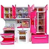 Modern Kitchen Toy Set, Battery Operated Play Set With Refrigerator, Accessories, Fruits, Music And Lights, Pretend Play Toy (18X12 Inches)