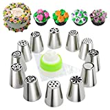 Russian Piping Tips, 24pcs Cake Decorating Baking Tips sets(12 Icing Nozzles - 11 Pastry Disposable Bags & Coupler) Extra Large Decoration Kit - Best Kitchen Gift