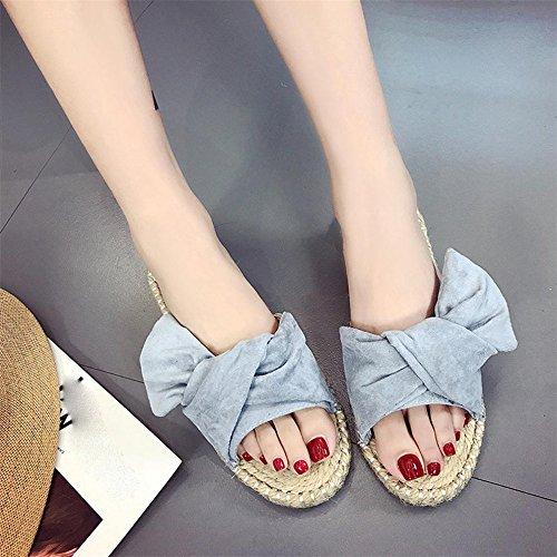 Scarpe piatte estive, Longra Donna Condensa della farfalla inferiore della canapa, pattino freddo femminile del piede Blu