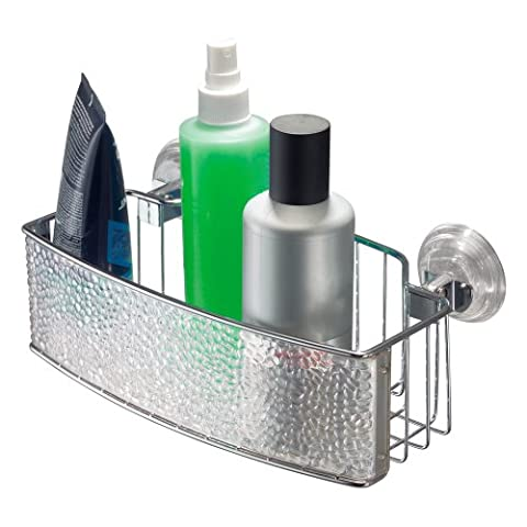 InterDesign Rain Power Lock Suction Bathroom Shower Caddy for Shampoo, Conditioner, Soap - Rectangle,