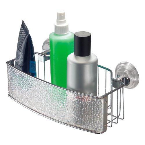 duschwand kunststoff freistehend InterDesign Rain Power Lock Badezimmer-/Dusch-Caddy mit Saugnapf für Shampoo, Conditioner, Seife - Rechteckig, Durchsichtig