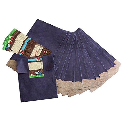 """10 kleine blaue Papiertüten Geschenk-Tüten Geschenk-Verpackung (13 x 18 cm) mit beschreibbare Aufkleber\""""Piraten\"""" DANKE; für wilde Piraten und große Freibeuter der Meere"""