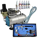 Profi Airbrush Set Kompressor Compact I mit 6*30ml Farben Set