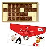 Süße Weihnachts-und Neujahrsgrüße aus feinster Vollmilchschokolade und weißer Schokolade. Die 32 Schokoladensteine sind in einer festlichen Schachtel mit lustigen Weihnachtsaufdruck verpackt. Verpackungsgröße: 260x145x19mm