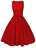 FAIRY COUPLE 50s Retro Blumen Cocktail Schwingen Party Kleid mit Bogen DRT017(3XL,Rote Kleine Schwarze Punkte)