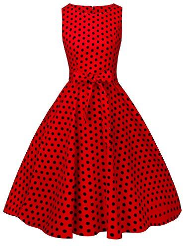 FAIRY COUPLE 50s Retro Blumen Cocktail Schwingen Party Kleid mit Bogen DRT017(L,Rote Kleine Schwarze Punkte) (Blume Kleid Besonderen Anlass)