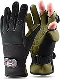 normani Anglerhandschuhe aus Neopren mit umklappbaren Fingerkuppen und Silikon-Innenseite Farbe Schwarz/Oliv Größe XXL