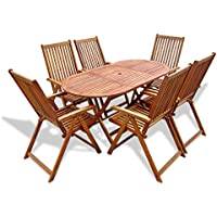 Festnight Conjunto de Muebles de Jardín Plegable Madera de Acacia 6 Sillas