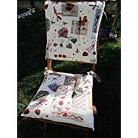 Pago Poco Red Heart Chair Cover Size 40 x 40 cm. with 2 laces Made in Italy!! !