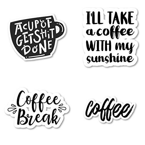 Lustige Kaffee-Aufkleber-Packung - 4 Stück - Aufkleber - Vinyl-Aufkleber - Laptop, Handy, Tablet Vinyl-Aufkleber (4 Stück) S172447 -
