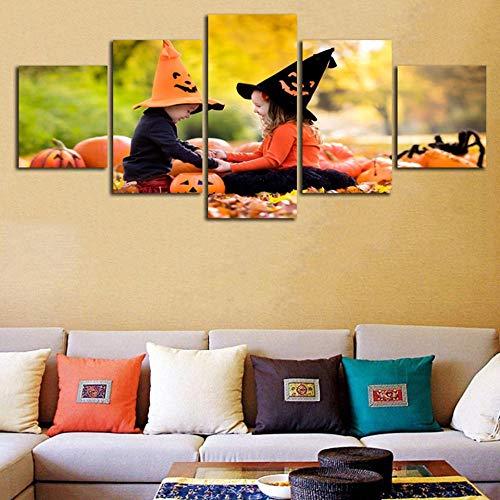 ACCEY Wohnkultur Wohnzimmer Gemälde Poster 5 Panel Baby Mädchen Spielen Halloween Moderne HD Gedruckt Wandkunst Leinwandbilder @ Framed_40X60_40X80_40X100cm