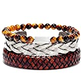 Three layer Bracelet for men strap leather beads silver stainless steel legends mont gift for men gents casual set women girl