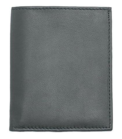 RAS® Cuir Véritable Pour Homme En Noir ou Marron, ultra Mince, Portefeuille Mini Carte De Crédit # 122 (Noir) Black