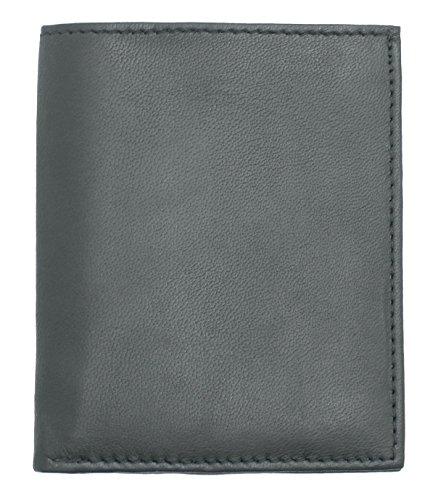 RAS® Herren Weiches Schwarzes / Braunes Echtes Leder Ultra Dünn, Minikarte Notizbuch Geldbörse #122 (Schwarz) (Leder Ziege Braune)