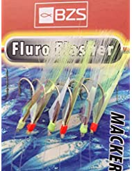 BZS 5 Packets of Fluro Flasher mackerel feathers