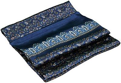 Bees Knees Fashion - Bufanda - Azul Paisley Impreso Doble Capa Larga Bufanda De Seda