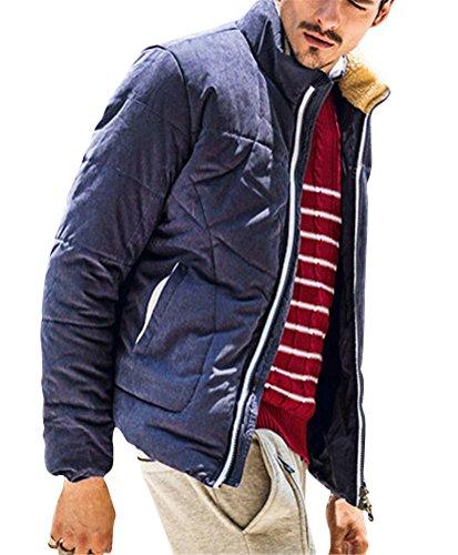 Ghope Homme Survêtement Col Fourrure Faux Capuche Parka Hiver Manteau Épais Manteau Plusieurs Poches Veste à Capuche Blouson Blouse Chaud Bleu