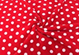 Fleece Stoff Fleecestoff, Meterware ab 0,5 m, rot / weiss