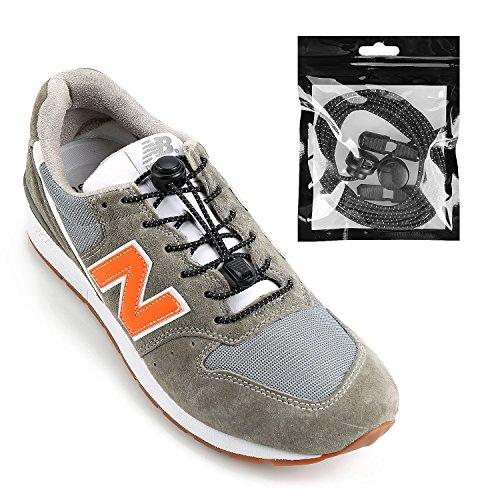 iPihsius Elastische Schnürsenkel ohne Binden für Kinder und Erwachsene Sneaker, Einheitsgröße, Spotty Black, T26 (Tiny (Für Stiefel Winter Kleid Frauen)