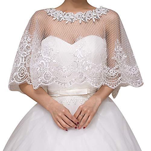 Bridal Lace Jacke (Liergou Hochzeits-Schal Lace Shawl Bridal Bolero Jacken für Frauen Weddiing Kleid Dekoration Elfenbein Weiß)