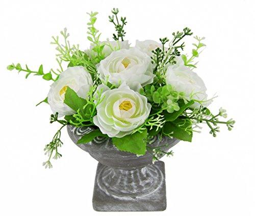 Flair Flower Rosen i. Pokal, Polyester, Kunststoff, Keramik, Weiß, 20 x 20 x 20 cm
