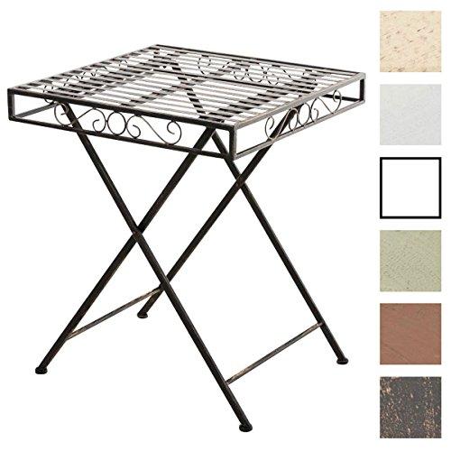 CLP Eisentisch FUNDA im Jugendstil I Robuster Gartentisch mit kunstvollen Verzierungen I Kompakter Tisch mit eckiger Tischplatte I erhältlich Bronze