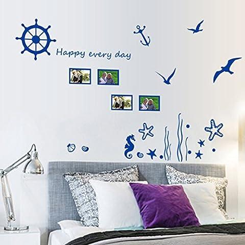 Inglés Cartas azul océano aves adhesivo decorativo para pared casa de vinilo extraíble papel pintado de salón dormitorio cocina arte imagen PVC Murales de ventana puerta decoración + 3d rana coche adhesivo