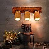 Retro vento industriale personalità creativa di bambù Light Art Wall soggiorno home bar caffetteria ristorante haltung Biblioteca lampade da parete in legno lampada da parete E27* 3