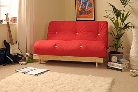 4ft Small Double 120cm Wooden Futon Set with RED