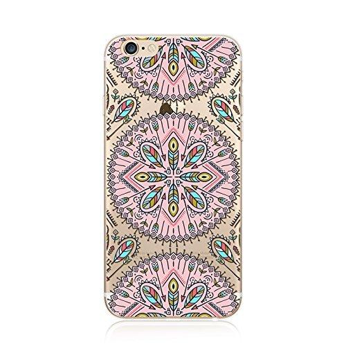 Coque iPhone 5 5s Housse étui-Case Transparent Liquid Crystal en TPU Silicone Clair,Protection Ultra Mince Premium,Coque Prime pour iPhone 5 5s-Mandala-New-style 17 15