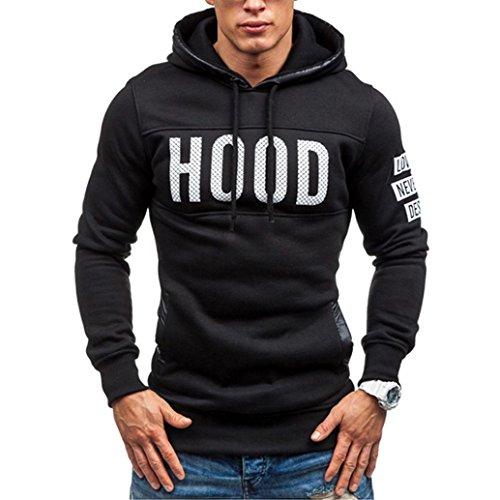 Sannysis Männer Winter Slim Hoodie Warm Pullover Sweatshirt Mit Kapuze Mantel Outwear Tops (M, Schwarz) (Slim-tier Womens)