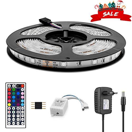 Wlife LED Strip,5m RGB Streifen 150 LEDs SMD 5050 IP65 Wasserdicht, 16 Farben Strips, einschließlich 44-Tasten Fernbedienung, 12V 3A DC-Netzteil, selbstklebend Lichtband