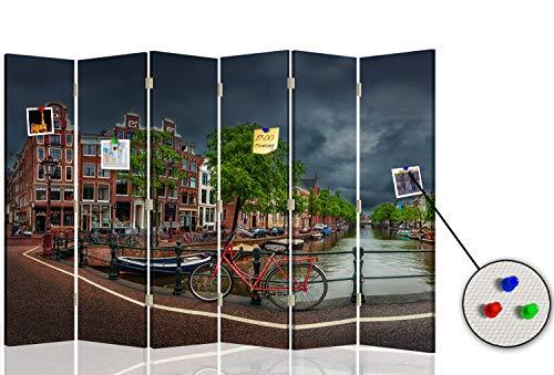 Feeby Separador con Corcho Amsterdam 6 Paneles 360° Bicicleta Paisaje Verde 216x175 cm
