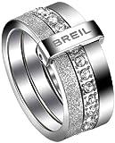 Breil anello da donna, in acciaio inox, cristallo Swarovski bianco BREILOGY TJ147, Acciaio inossidabile, 14, colore: Bianco, cod. TJ1472