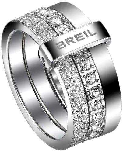 Breil - anello da donna, in acciaio inox, cristallo Swarovski bianco BREILOGY TJ147, Acciaio inossidabile, 14, colore: Bianco, cod. TJ1472