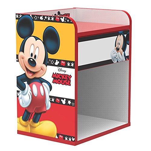 Stor - Table de Chevet d'enfant   Mickey Mouse Stripes   Meubles Disney - Dimensions: 40cm x 50,5cm x 30cm - Plusieurs Personnages