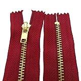10 - 25 cm Metall Reißverschluss 4 mm Zipper nicht teilbar für Jeans Leder Taschen Geldbörse Hose Dunkelrot 12 cm