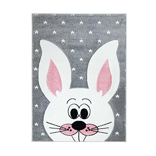 Kinderteppich Bueno Hochwertig mit Hasen-Motiv in Grau, Rosa mit Konturenschnitt und Glanzgarn für...