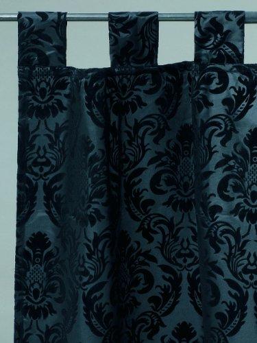Vorhang Schlaufenschal Ornament Satin schwarz 250x140 cm (Satin-vorhänge)